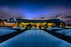 Centre Court is shown as night falls over the All England Lawn Tennis & Croquet Club. - Matthias Hangst/AELTC