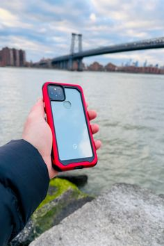 Pixel 5 [Sorta Sage] in our Clear Red Case ATOMIC SLIM - Clear Protective Aluminum Metal Bumper Phone Cases 🛡 #Ghostek #Pixel5 #GooglePixel5 #Android #AndroidUsers #PhoneCase Google Pixel 5, Aluminum Metal, Layers Design, Camera Lens, Protective Cases, Sage, Android, Phone Cases, Red