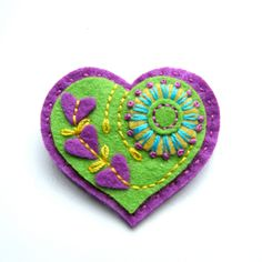 ON SALE HEART felt brooch with freeform embroidery via Etsy.