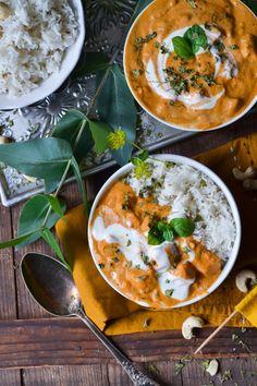 Christina macht was: Haloumi Makhani (Butterchicken ohne Chicken) - Top-Trends Butter Chicken, Low Budget Meals, Budget Recipes, Curry, Vegan Recipes, Vegan Meals, Vegan Vegetarian, Yummy Food, Healthy Food