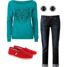 Teal Owl Red Toms on Polyvore