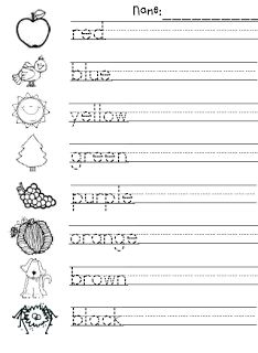 Color Word Spelling & Handwriting Practice (free; from What the Teacher Wants)