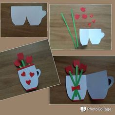Fun Crafts For Kids, Diy For Kids, Diy And Crafts, Paper Crafts, Flower Cards, Paper Flowers, Photocollage, 3d Cards, Mothers Day Cards