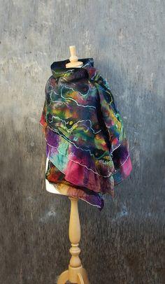 Nuno Felted scarf felt scarf felted shawl wool wrap by AnnaWegg