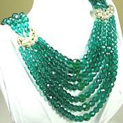 SOLD Breathtaking Coppola E Toppo Seven Strand Emerald Green Crystal and Imitation Pearl ...