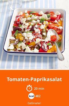 Unterstützt die Abwehrkräfte: Tomaten-Paprikasalat    #tomatenrezepte #tomatensalat Eat Smarter, Pasta Salad, Potato Salad, 20 Min, Low Carb, Healthy Eating, Potatoes, Feta Salat, Ethnic Recipes