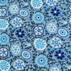 Jersey Blumenkreise auf hellblau