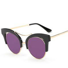 HINDFIELD2017 Summer Style Luxury Cat Eye Sunglasses Women Vintage Brand Design Fashion Lady Shades Metal Glasses Gafas De Sol