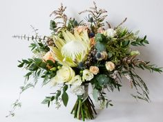 Loved the shape of this bouquet, plus lots of texture and a statement green king protea. Diy Wedding Bouquet, Bride Bouquets, Floral Wedding, Flower Bouquets, Wedding Color Schemes, Wedding Colors, Budget Wedding, Our Wedding, 2018 Wedding Trends