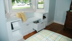 so want our bay window to be turned in to a reading spot with storage.