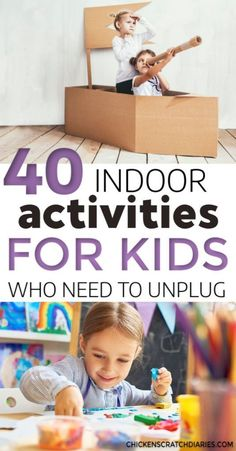Fun indoor kids activities that encourage creativity and imagination at home. Easy, cheap or free ideas for all ages, toddlers through big kids. Free printable list. #Activities #Fun #Indoors #Creative #Kids #Printable #Parenting