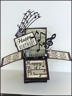 Cricut Happy Birthday box card or pop up box card for Music friends.