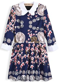 Navy Long Sleeve Vintage Coins Floral Print Dress US$31.97