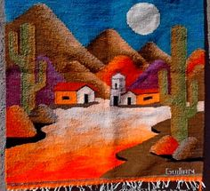 17 New Ideas Patchwork Sin Agujas Pattern Tapestry Weaving, Loom Weaving, Painted Pots, Mexican Art, String Art, Quilt Blocks, Fiber Art, Quilt Patterns, Canvas Art