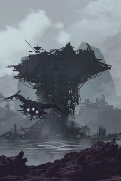 Into Port / Sci-Fi :: john sommo :: futuristic :: artist :: art (арт) Fantasy City, Fantasy Places, Fantasy World, Cyberpunk City, Arte Cyberpunk, Arte Sci Fi, Sci Fi City, Sci Fi Environment, Alien Worlds