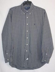Ralph Lauren Blue Green Plaid Button Front Shirt XL Long Sleeve Men's Fashion