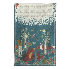 Special Edition Spoonflower Tea Towel featuring In the woods 2018 teatowel calendar by cjldesigns | Roostery Home Decor