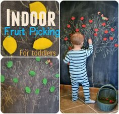 Indoor Fruit Picking- Toddler Activity I totally want to paint part of Parkers wall in chalkboard paint to do this! Im so excited just thinking of changing the fruits with the seasons! Indoor Activities For Toddlers, Kids Learning Activities, Infant Activities, Teaching Kids, Motor Activities, Toddler Play, Toddler Crafts, Kids Crafts, Summer Crafts