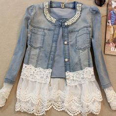 lace jean jacket on sale at reasonable prices, buy 2017 Women Denim Jacket Long Sleeve Lace Jeans Jackets Female Oversized Jean Coat Girls Outerwear Abrigos Mujer jaqueta feminina from mobile site on Aliexpress Now! Lace Jeans, Denim And Lace, Denim Jeans, White Denim, Buy Jeans, Denim Shirt, Blue Denim, Bling Jeans, Denim Blazer