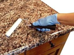 How to Paint Laminate Kitchen Countertops : Home Improvement : DIY Network 6 Kellie Hindman McMurdy For the Home Pin it Send Like Learn more at hgtv.com hgtv.com from HGTV Kitchen Countertops: Colors and Materials Kitchen Countertops: Colors and Materials from HGTV love the granite, dark cabinets and light tile floors! 3923 386 13 Donna Wallerstein Kitchen redo Stone Mart Columbus Here at Stone Mart We call it Giallo Ferito.
