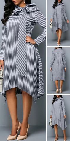 It's a unique find that's perfect for the office party,a night at the theater or any special occasion this holiday season.Do you like this stripe dress? Latest African Fashion Dresses, African Print Fashion, Women's Fashion Dresses, Stylish Dresses, Casual Dresses, Sexy Dresses, Vetement Fashion, Kurti Designs Party Wear, Blazer Fashion
