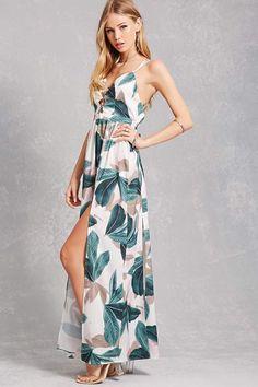 a5fc3ecd550b Forever 21 Leaf M-Slit Maxi Dress Cute Summer Outfits