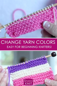 How to Change Yarn Colors While Knitting : Changing colors is so much easier than I thought! Learn to Change Yarn Colors While Knitting for Beginning Knitters with Studio Knit - Watch Free Knitting Video Tutorial Beginner Knitting Projects, Knitting Basics, Knitting Help, Knitting Videos, Arm Knitting, Knitting Stitches, Knitting Patterns Free, Knitting Tutorials, Free Crochet Patterns For Beginners