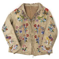 A Dakota child's leather jacket decorated with intricate beaded floral design. Native American Clothing, Native American Artifacts, Native American Tribes, Native American Beading, Male Clothing, Native Americans, Beaded Jacket, Beadwork Designs, Vest Outfits