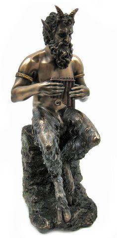 Pan Statue, Minor Greek God Mythology Figurine, Goat Feet, Pipes, Nymph Chaser,