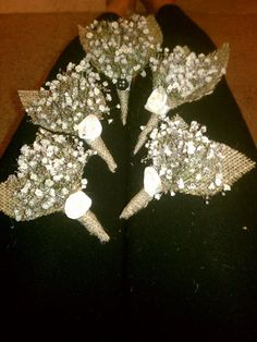 FINAL BOUTTENIERES!!! :  wedding bouttenieres boutts burlap diy fabric flowers ivory tulle Boutts