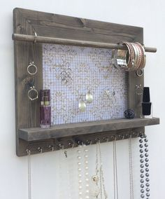 Amazon.com - Jewelry Organizer, Earring Holder, Necklace Holder, Barnwood Frame, Jewelry Holder, Jewelry Display, Hanging Jewelry Organizer, Wood Jewelry Organizer, Wall Mount Jewelry Holder -