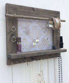Amazon.com - Jewelry Organizer, Earring Holder, Necklace Holder, Barnwood Frame, Jewelry Holder, Jewelry Display, Hanging Jewelry Organizer, Wood Jewelry Organizer, Wall Mount Jewelry Holder -
