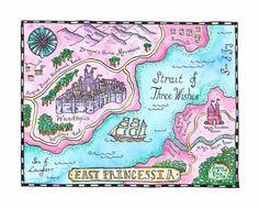 East Princessia Map / x Watercolor Print / Children's Art / Girl's Room Decor / Princess Art / Princess Decor / Fairy Tale Art Fantasy Island, Fantasy Map, Imaginary Maps, Maps For Kids, Creation Art, Watercolor Map, Fairy Furniture, Fairytale Art, Art Plastique