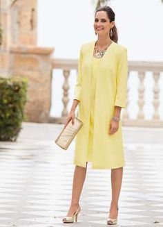 Yellow  Mother of the Bride outfit Together Coat With Bow
