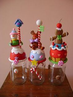 Christmas Jars, Christmas Crafts, Christmas Decorations, Polymer Clay Ornaments, Polymer Clay Crafts, Clay Jar, Polymer Clay Christmas, Clay Figurine, Cute Clay