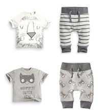 Varejo 2017 primavera roupas infantis conjuntos de roupas de bebê menino de Algodão pouco monstros e os leões de manga curta 2 pcs bebê menino roupas alishoppbrasil