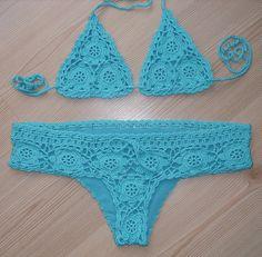 FREE SHIPPING!!! Crochet Turquoise Full Lined Sexy Bikini, Women Swimwear, Beach Wear, 2016 Trends !!! FORMALHOUSE