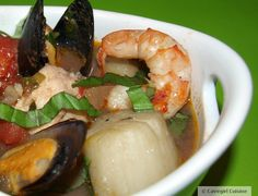 This is another great soup that is so versatile! Use the seafood that is fresh in your area or that you just love. I used halibut ~ use cod if you want. I used mussels ~ you can use clams…or use both! I used shrimp and scallops…add or substitute crab and/or lobster. Have fun with this…I used red wine ~ you can also use white wine. Enjoy the extra couple of glasses while you chop away!