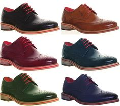 Justin Reece Wing Tip Brogues Work Office Formal Shoe Size UK 6 7 8 9 10 11 12