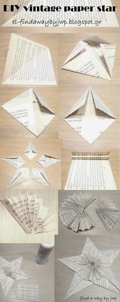 DIY vintage Christmas paper ornament  [how to make a star]