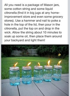 Mason jar mosquito repellent!...good decor for outdoor party plus no bugs!