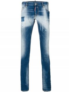 """Dsquared Regular Clement"""" Jeans"""" In Blue Milan Fashion, Mens Fashion, Calf Leather, Dsquared2, Supermodels, Thighs, Menswear, Skinny Jeans, Glamour"""