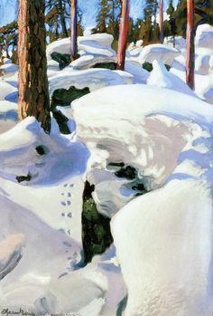 The Athenaeum - The Lair of the Lynx (Akseli Gallen-Kallela - Finland Winter Landscape, Landscape Art, Landscape Paintings, Landscapes, Nordic Art, Scandinavian Art, Scandinavian Paintings, Stockholm, Painting Snow