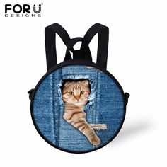 d5057886a9 FORUDESIGNS Hot Jeans Design School Bags For Baby Girls Boys Cute Denim  Animal Cat Dog Pattern