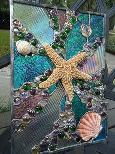 Stained Glass Window Tropical Starfish Sea Shell Beach Suncatcher Sail Panel | eBay