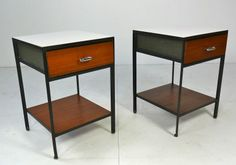 George Nelson Steel Frame Nightstands | From a unique collection of antique and modern night stands at http://www.1stdibs.com/furniture/tables/night-stands/