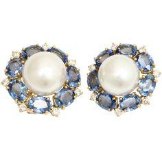1stdibs.com | Gold, Sapphire, Diamond and South Sea Cultured Pearl Earrings