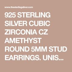 925 STERLING SILVER CUBIC ZIRCONIA CZ AMETHYST ROUND 5MM STUD EARRINGS. UNISEX. BRAND NEW & BOXED. - The Sterling Silver Com