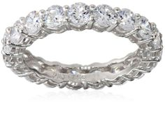 Platinum-Plated Sterling Silver Simulated Diamond All-Around Band Ring