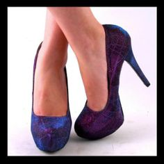 sparkly teal and purple wedding shoes | Purples